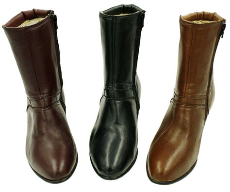 Men Genuine Leather Side Zipper Closure Boots Style