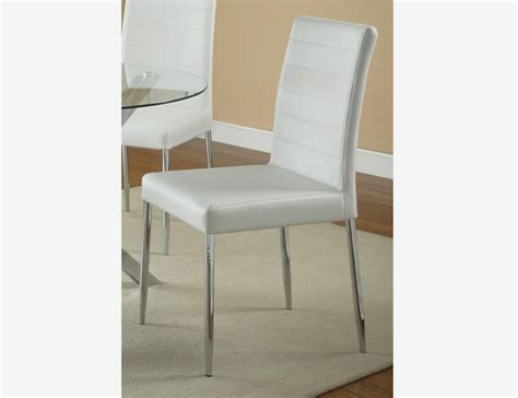 4 pc dining side chairs white leather seat chrome legs