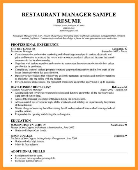 restaurant assistant manager resume sop exle