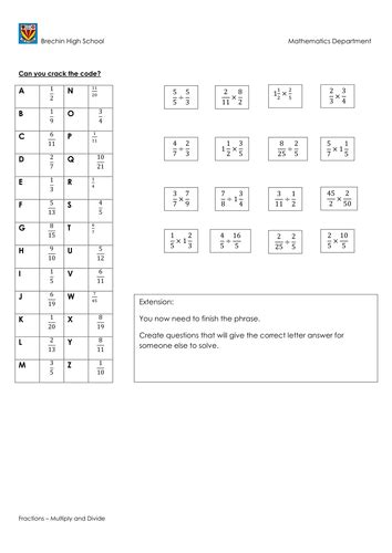 multiply  divide fractions code breaker