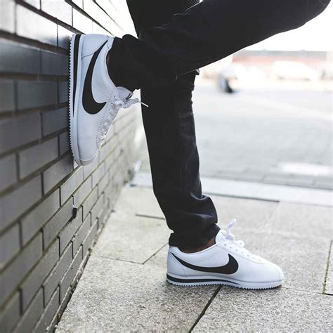 One of our favourite silhouettes this season the Nike Cortez Leather Trainer in White u0026 Black ...