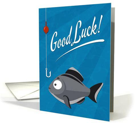 good luck fishing  cartoon fish  hook card