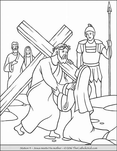 Cross Coloring Stations Pages Jesus Meets Mother