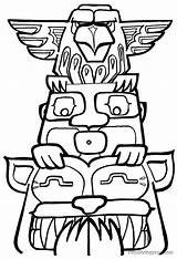 Totem Pole Coloring Pages Template Poles Drawing Printable Easy Designs Clipart Colouring Drawings Outline Native American Owl Tiki Clip Totems sketch template