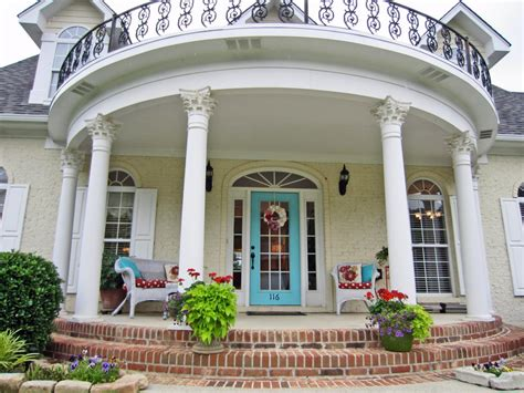 Photo Of Revival Porch Ideas by Bright A Cheery Blue Front Door And Large Demilune