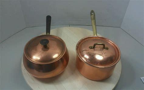 vintage copper sauce pans pots  qt cookware  home garden kitchen dining bar