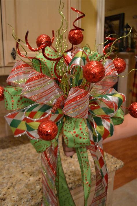 christmas ribbon and glitter ball tree topper