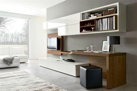 bureau salon wohnwand mit schreibtisch als arbeitsplatz im wohnzimmer