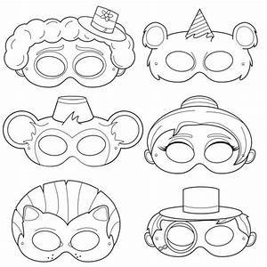 circus printable coloring masks clown mask bear mask With clown mask template