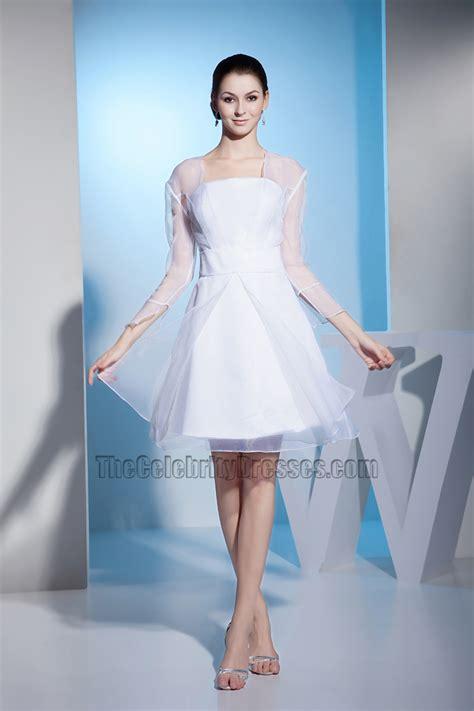 white long sleeve organza short wedding dress cocktail