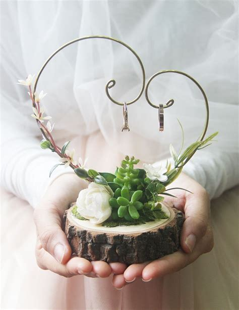 succulent ring hanger deco mariage fait main