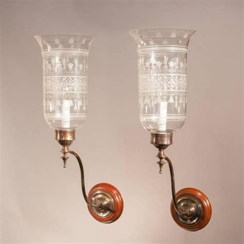 Glass Light Sconces by Pair Of Antique Hurricane Shade Wall Sconces With