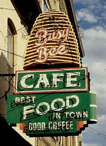 Busy Bee Cafe Dubuque IA Rusty Vintage Neon Sign