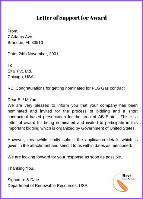 letter  award template format sample