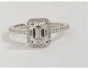 2.03 Carat Diamond Emerald Cut Halo Diamond Engagement ...