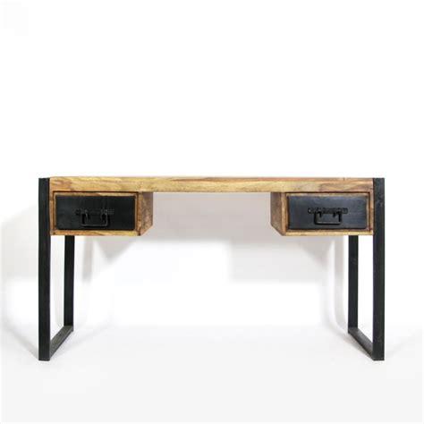 bureau industriel vintage bureau industriel bois et métal 2 tiroirs made in meubles