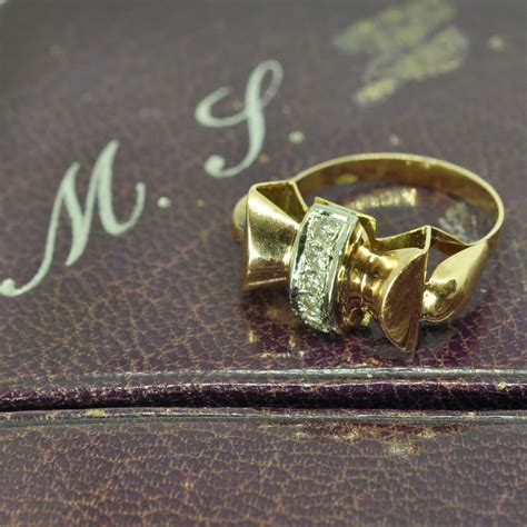deco gold deco gold bow ring sold plaza jewellery