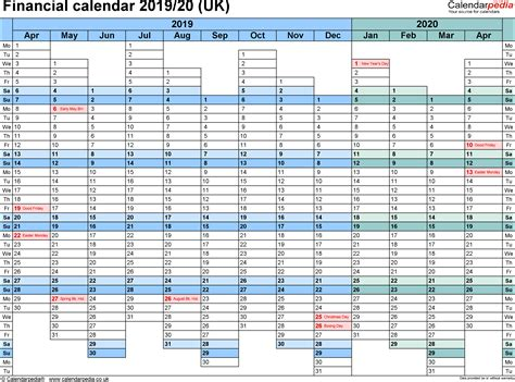 Financial Calendars 2019/20 (uk) In Microsoft Excel Format