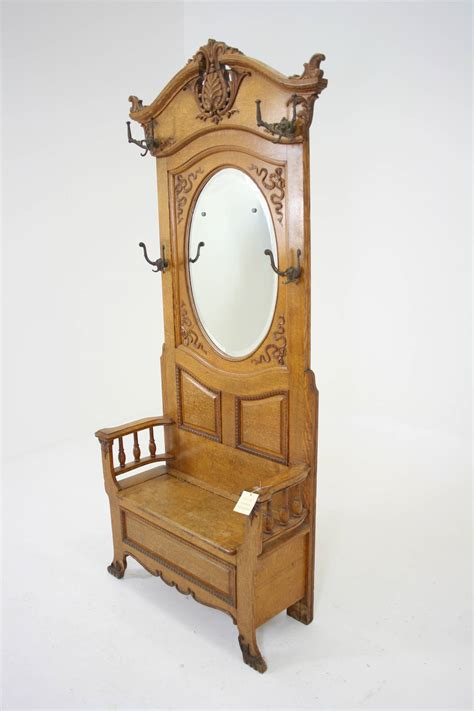 Antique Coat Rack With Bench And Mirror Tradingbasis