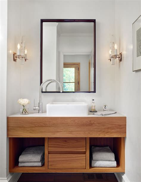 Modern Bathroom Sinks With Storage by Floating Contemporary Wood Vanity Side Arc Faucet Vessel