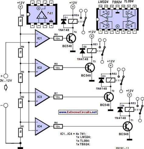 Voltage Levels Control Relays Circuit Diagram
