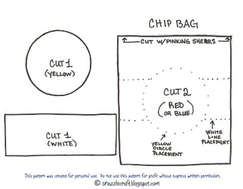 chip bag template for snazzle craft free felt food pattern