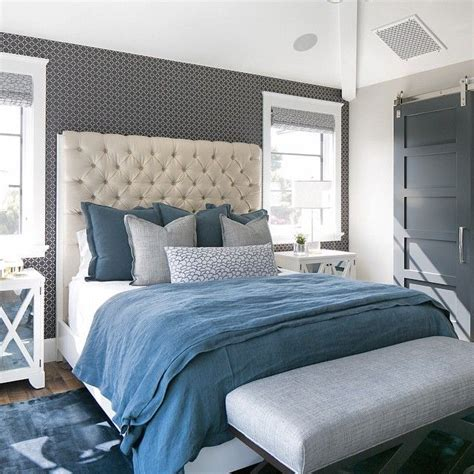 blue  gray linen duvet  shams transitional bedroom