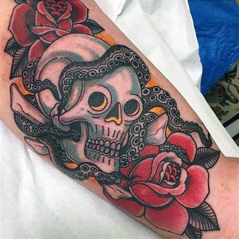 traditional skull tattoo designs  men manly ink ideas