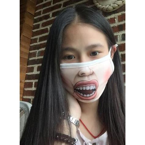 funny face kawaii anti dust mask kpop cotton mouth mask