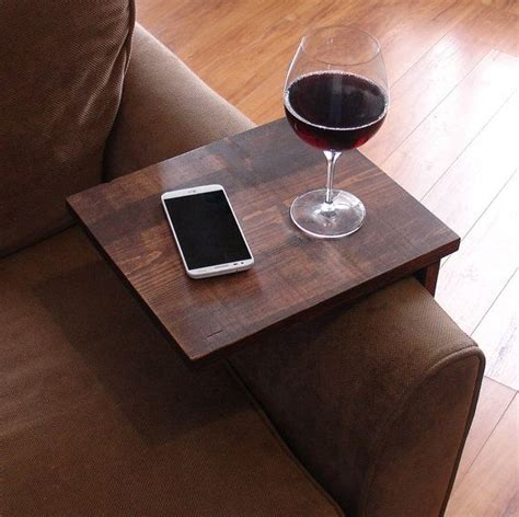 sofa chair arm rest tv tray table stand with side storage