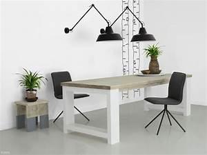 Weißer Tisch Mit Holzplatte : bauholz tisch mit wei er lackierung bauholz m bel ~ Bigdaddyawards.com Haus und Dekorationen