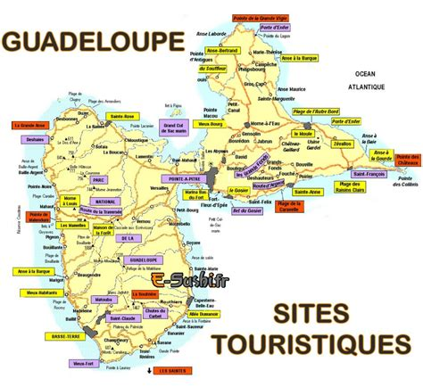 Carte De Touristique à Imprimer by Carte Touristique De Guadeloupe Voyages Cartes