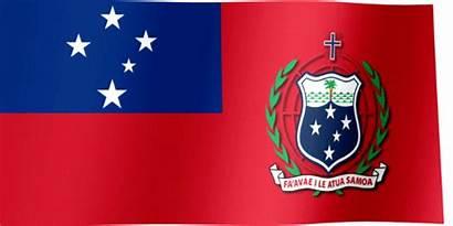 Samoa Flag Waving Arms Coat Apia Flags