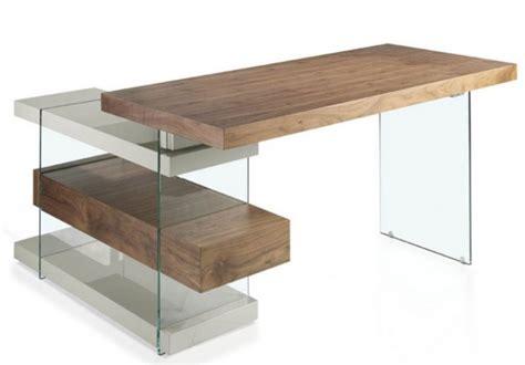 bureau dangle bureau d 39 angle contemporain bois plaqué noyer et verre