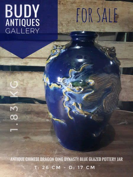 antique chinese dragon ming dynasty blue glazed pottery
