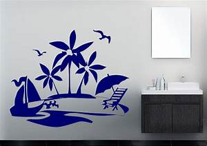 Palm trees on the beach modern wall stickers adhesive