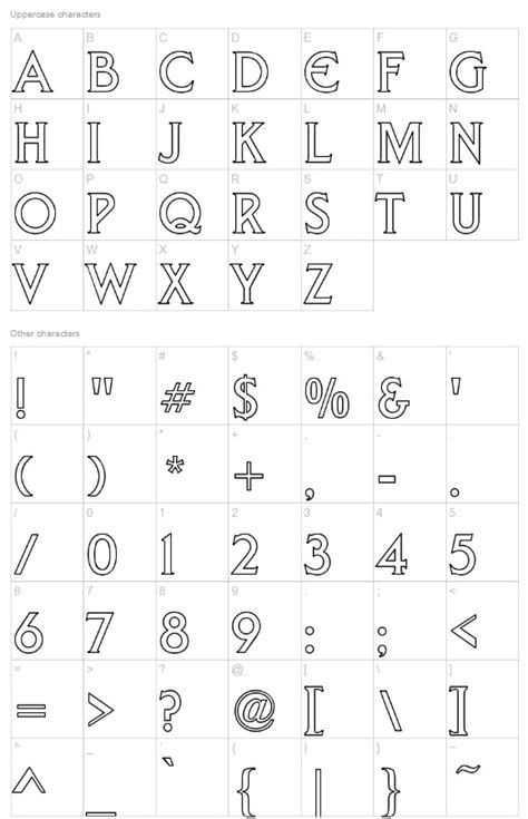 liberty hollow    capital letter outline font  punctuations  numerals