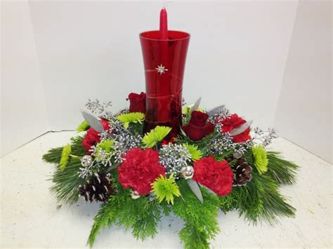 Red Hurricane Christmas Centerpiece