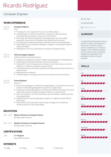 resume format  freshers engineers computer science