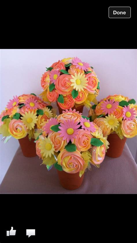 cupcake flower pots ideas  pinterest cupcake