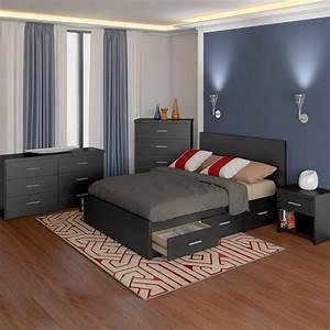 Sonax, 4, Piece, Storage, Bed, Set, In, Ravenwood, Black, With, Flat