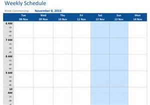 Weekly Schedule Calendar Template