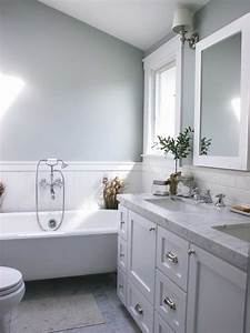 Gray, Bathroom, With, White, Wainscoting, 50650
