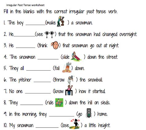grammar worksheet simple past tense classroom