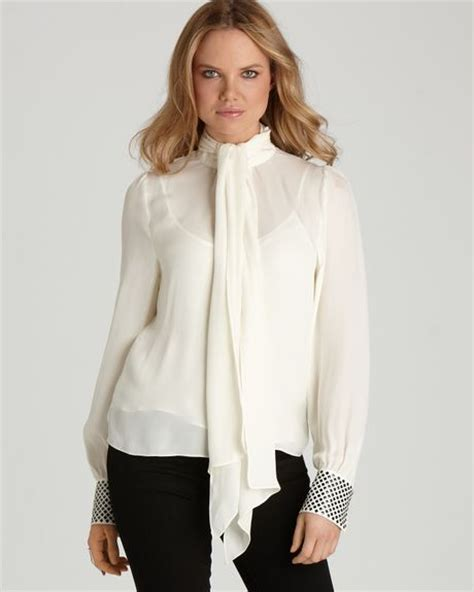 tie neck blouses vince camuto tie neck blouse with studded cuffs in beige