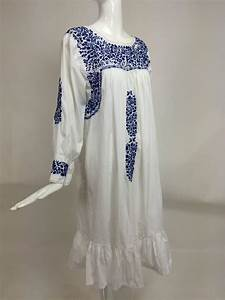 1960s blue and white embroidered oaxacan mexican wedding With embroidered mexican wedding dress