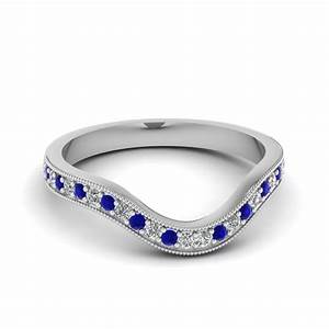 Milgrain Pave Curved Diamond Womens Wedding Band With Blue