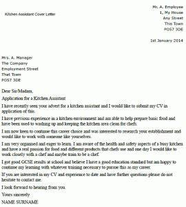 School Application Template Writing A Cover Letter For A Kitchen Assistant Lettercv Com