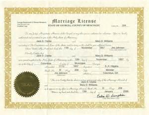 Georgia Marriage License Certificate
