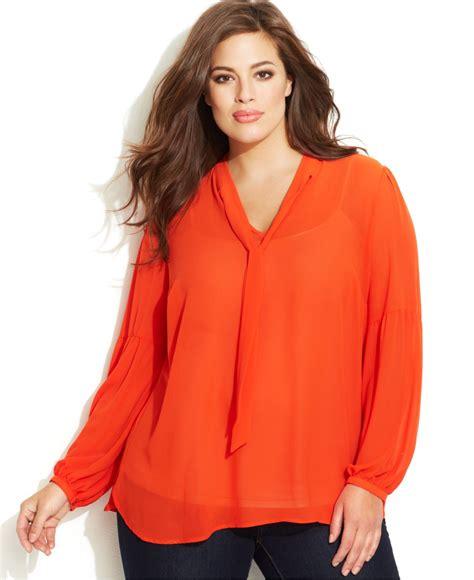 orange blouses michael kors michael plus size tie neck blouse in orange